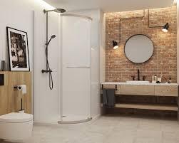 geräumiges helles badezimmer im loft stil mit ziegeln und