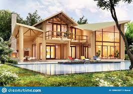 100 Modern Wooden House Design With Pool Stock Image Image Of