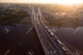 100 Go Cars And Trucks CableStayed Bridge In StPetersburg At Sunset It Is