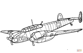 Click The Messerschmitt Bf 110 Heavy Fighter Aircraft Coloring Pages