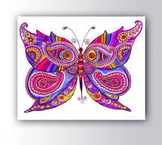 Pink Purple Butterfly Drawing Large Giclee PRINT Colorful Wall Decor Nursery Kids Room Zentangle Paisley Doodle By DHANAdesign