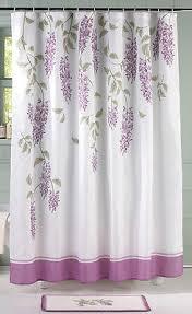purple floral wisteria flower bathroom shower curtain rug set