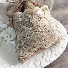 Natural Rustic Vintage Lace Burlap Wedding Favor Bag EWFB070