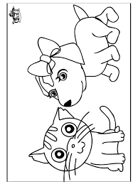 Printable Pictures Cat And Dog Coloring Pages 79 For Line Drawings With