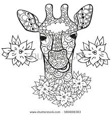 Giraffe In Doodle Style Coloring Page Anti Stress For Adults And Children Animals