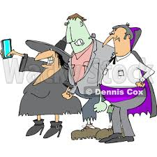 Clipart of a Cartoon Chubby Witch Taking a Selfie on a Cell Phone with Frankenstine and a