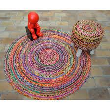 tapis coton tisse a plat tapis rond tissé plat en coton muliticolore circle