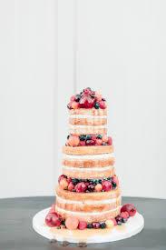 Naked Wedding Cake With Pomegranates