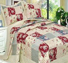 Country Style Bedding Quilts Twin French Floral Patchwork 3 Piece Quilt Coverlet