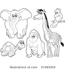 Zoo Animals Clipart Black And White