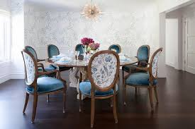 Round Back Dining Chairs Regarding French Table With Blue Velvet Oval Decor 19
