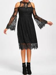 Halloween Date 2014 Nz by Halloween Cold Shoulder Flare Dress Black Xl In Lace Dresses
