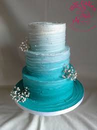Rustic Ombre Blue Wedding Cake