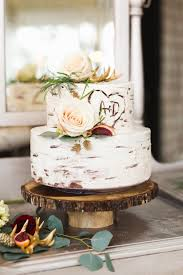 Tree Inspired Rustic Wedding Cake With Roses