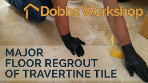 Regrout Old Tile Floor by Major Floor Regrout Of Travertine Tile Youtube