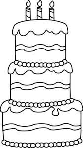 Wedding Cake clipart coloring page printable 3