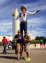 James And Jamie With Big Tex At The State Fair Fo Texas