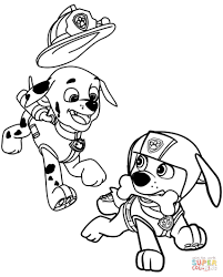 Marshall And Zuma Coloring Page Paw Patrol Color Sheets