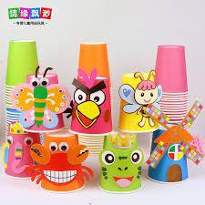 12pcs Children 3D DIY Handmade Paper Cups Sticker Material Kit Whole Set Kids Kindergarten School