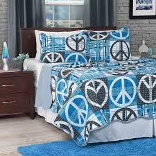 Lavish Home Grey Blue Abstract Peace Sign 3 piece Quilt Set Free