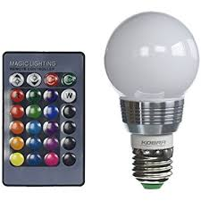 le dimmable a19 e26 led light bulb 6w rgb 16 colors remote