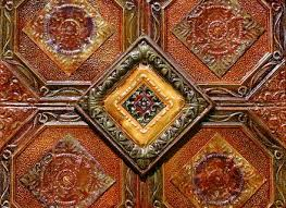 2 pc antique tin ceiling tiles 6 by 12 inch decorative metal