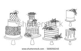 Vector sketch of trending wedding cakes with floral decoration isolated on a white