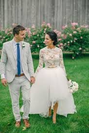 Bridal Separate With A High Low Tulle Skirt And Lace Top