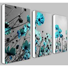 Teal Flowers Split Frame Canvas Print