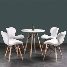 eiffelturmstuhl moderner stuhl mit pu kissen rundes holzbein