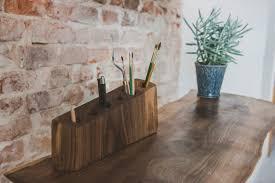 Wood Desk Organizer Make Up Holder Accessories Plant
