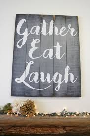 Gather Eat Laugh Pallet Sign Dining Room Decor Kitchen Rustic Wood Shabby Chic Gray Home Handpainted Handmade