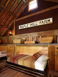 Fantastic Farmhouse Bedroom Rustic Wood Wainscoting Decoratively Murphy Beds With Vintage Sign Ceiling Trim And Acoustic