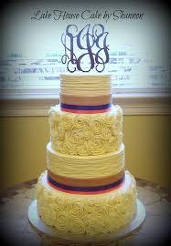 Rustic Wedding Cake Rosettes Texture Burlap Satin Ribbon