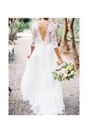 Rustic 3 4 Sleeved Lace Top A Line Chiffon Wedding Dress With V Neck
