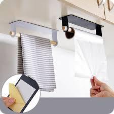 großhandel wandbehang für küche eisen einpoliger handtuchhalter aufkleber kleben lagerregal wischt platz sparend tuch trockenständer sh190920