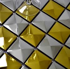3d convex design pyramid pattern stainless steel metal mosaic tile