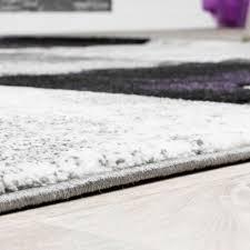 moderner teppich wohnzimmer konturenschnitt lila grau