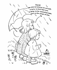 Nursery Rhyme Coloring Page Rain Education