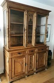 wohnzimmerschrank eiche rustikal massiv antik mit vitrine
