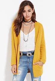 forever 21 longline open front cardigan in yellow lyst