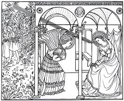 The Annunciation Painting By Fra Giovanni Angelico Renaissance Printable Coloring Book Page