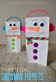 I HEART CRAFTY THINGS Paper Bag Snowman Puppet For Kids To Make This Winter