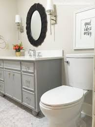 Paint Color For Bathroom With Almond Fixtures by Remodelaholic Chalk Paint Bathroom Vanity Makeover