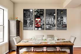 4 Piece Canvas Print Dining Room Artwork Red Bus Huge Art Gray