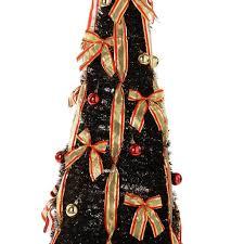 Black Pre Lit Pop Up Christmas Tree by 5 Ft Pre Lit Pop Up Christmas Tree With Ribbon And Bauble