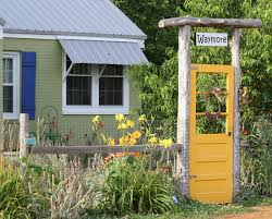 Yellow Garden Gate Oh Look At This It A Happy Made From An Old Door Painted Is One Of The Best Ideas I Seen For DIY
