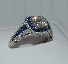 French Cut Sapphiresantique Style Diamond And Sapphire Engagement Ring