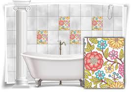 fliesen aufkleber fliesen bild kachel blumen malerei bunt bad wc deko küche