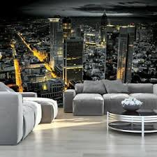 details zu vlies fototapete new york 3d skyline nacht stadt schwarz weiß wohnzimmer modern